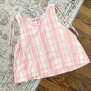 Madewell Plaid Cropped Rank Top Cotton Pink White